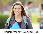 one happy student posing... | Shutterstock . vector #635351258