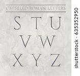 roman letters chiseled in... | Shutterstock .eps vector #635352950