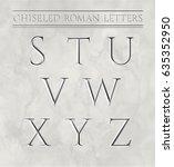 roman letters chiseled in... | Shutterstock .eps vector #635352950
