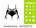 women waist with measuring tape ... | Shutterstock .eps vector #635355770