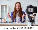 beauty fashion blogger... | Shutterstock . vector #635358128