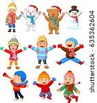 little kids wearing winter... | Shutterstock . vector #635362604