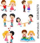 collection of cartoon kids... | Shutterstock .eps vector #635365070
