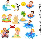 cute little kids playing on the ... | Shutterstock . vector #635368904