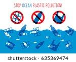 stop ocean plastic pollution... | Shutterstock .eps vector #635369474