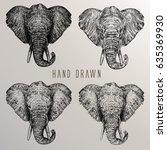 african elephant. hand drawn... | Shutterstock .eps vector #635369930