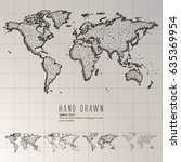 hand drawn world map. | Shutterstock .eps vector #635369954