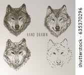 wolf head. hand drawn vintage... | Shutterstock .eps vector #635370296