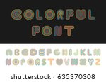 colorful striped funny font.... | Shutterstock .eps vector #635370308