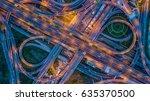 aerial top view interchange of... | Shutterstock . vector #635370500
