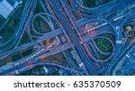 aerial top view interchange of...   Shutterstock . vector #635370509