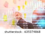 double exposure businessman and ... | Shutterstock . vector #635374868