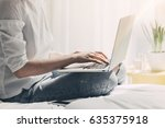 blogger typing new article via... | Shutterstock . vector #635375918