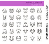 animal elements   thin line and ... | Shutterstock .eps vector #635378234