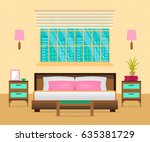 interior bedroom with furniture ... | Shutterstock .eps vector #635381729