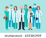 hospital staff. group of eight... | Shutterstock .eps vector #635381909