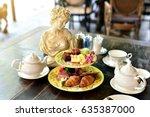 afternoon english high tea set  ... | Shutterstock . vector #635387000