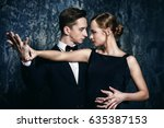 beautiful passionate dancers... | Shutterstock . vector #635387153