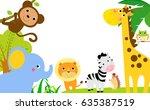 fun jungle animals border | Shutterstock .eps vector #635387519