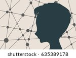 silhouette of a woman's head.... | Shutterstock .eps vector #635389178