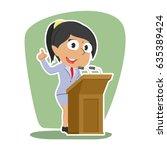 indian businesswoman giving... | Shutterstock .eps vector #635389424