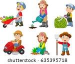 collection of gardening kids | Shutterstock .eps vector #635395718