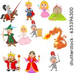 set of fairy tale medieval... | Shutterstock .eps vector #635396300