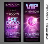 set of disco background banners.... | Shutterstock .eps vector #635399360