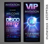set of disco background banners.... | Shutterstock .eps vector #635399366