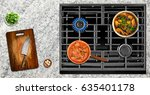 close up of cooking food on...   Shutterstock . vector #635401178