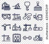 lift icons set. set of 16 lift...   Shutterstock .eps vector #635405249