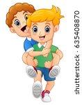 cartoon blond boy giving his... | Shutterstock . vector #635408870