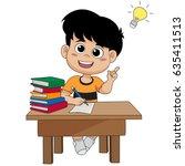kid having a good idea.vector...   Shutterstock .eps vector #635411513
