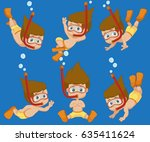 kid diving under the ocean... | Shutterstock .eps vector #635411624