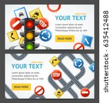 road sign drive school flyer... | Shutterstock .eps vector #635412488