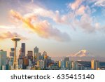 view of downtown seattle... | Shutterstock . vector #635415140