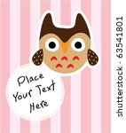 cute baby owl message | Shutterstock .eps vector #63541801