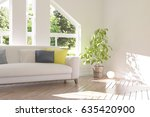 white room with sofa and green... | Shutterstock . vector #635420900