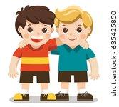 two boys smiling  hugging.... | Shutterstock .eps vector #635425850