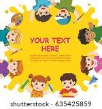back to school. cute children...   Shutterstock .eps vector #635425859