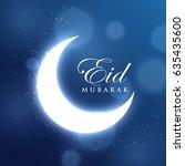 glowing crescent moon for eid... | Shutterstock .eps vector #635435600