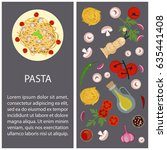 italian pasta with ingredients... | Shutterstock .eps vector #635441408