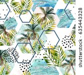 watercolor tropical leaves and... | Shutterstock . vector #635443328