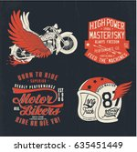 vintage motor designs vector set | Shutterstock .eps vector #635451449