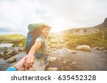 strong and romantic traveler... | Shutterstock . vector #635452328