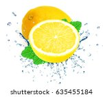 lemon splash water isolated on... | Shutterstock . vector #635455184