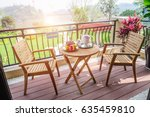 the tables and chairs on the... | Shutterstock . vector #635459810