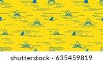 shark fin dolphin ocean sea... | Shutterstock .eps vector #635459819