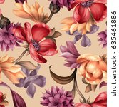 seamless pattern, botanical floral illustration, natural ornament, red, peachy, purple, wild flowers, light pastel background, textile design