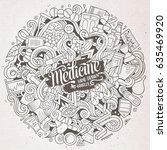 cartoon cute doodles hand drawn ... | Shutterstock .eps vector #635469920